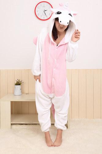 На картинке пижама-кигуруми «Единорог» (2 варианта), вид спереди, цвет розовый.