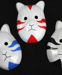 На картинке маска АНБУ (Наруто), вид спереди, 3 варианта.