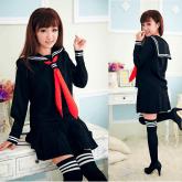 На картинке японская школьная форма (зимняя) 2 цвета, вид спереди и сзади, цвет черный.