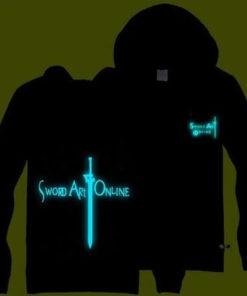 """На картинке светящаяся толстовка «Sword Art Online». вид спереди и сзади, вариант Надпись """"Sword Art Online""""."""