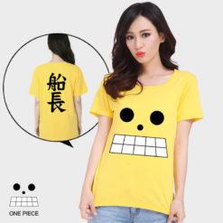 На картинке футболка Ван пис, вид спереди и сзади.