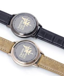 На картинке наручные часы «Sword Art Online», цвета бежевый и черный.