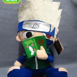 На картинке мягкие игрушки из аниме Наруто (8 героев), вид спереди.