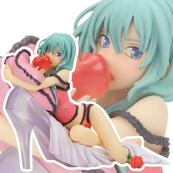 На картинке фигурка Хатсуне Мику с яблоком (Вокалоиды), вид спереди.
