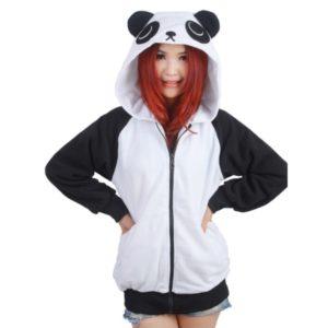 На картинке толстовка панда с ушками (ушами) на капюшоне, вид спереди.