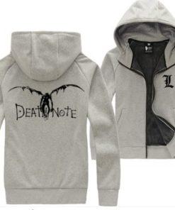 На картинке толстовка Тетрадь смерти (Death note) 2 цвета, вид спереди и сзади, цвет серый.