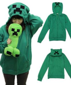 На картинке толстовка Крипер Майнкрафт (Minecraft), вид спереди и сзади.