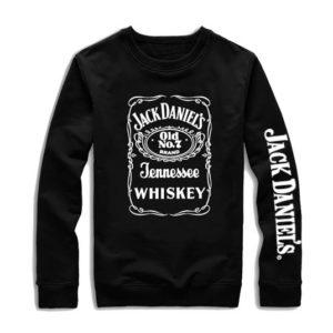 На картинке толстовка без капюшона Jack Daniels (Джек Дэниэлс) 2 варианта, вид спереди, вариант с белой надписью.
