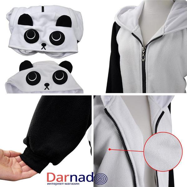 На картинке толстовка панда с ушками (ушами) на капюшоне, детали.