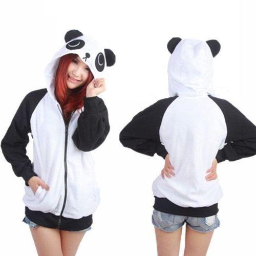 На картинке толстовка панда с ушками (ушами) на капюшоне, вид спереди и сзади.