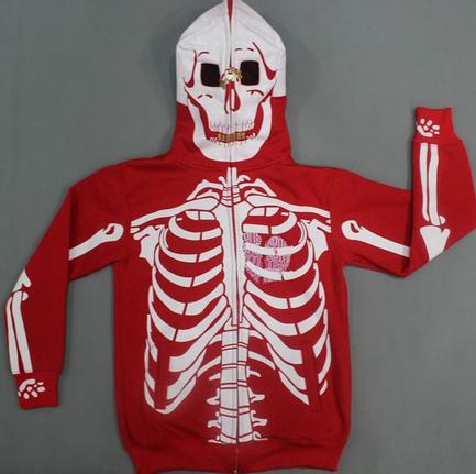 На картинке толстовка скелет (2 цвета), вид спереди, цвет красный.