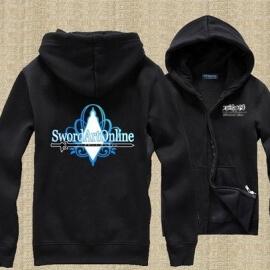 На картинке толстовка Sword Art Online (4 варианта), вид спереди и сзади, вариант Черная Sword Art Online.
