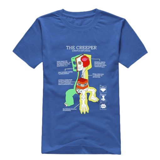 На картинке футболка Майнкрафт «Крипер» (Minecraft), вид спереди, цвет синий.