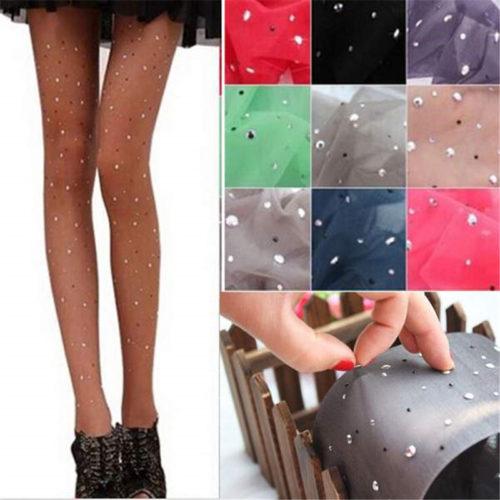 Мода-Женщин-Дамы-Basic-Стретч-Sexy-Тонкий-Bling-Crystal-Rhinestone-Колготки-Колготки-Чулки-12-Цветов-Оптом