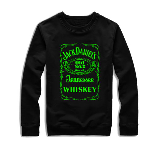На картинке толстовка без капюшона Jack Daniels (Джек Дэниэлс) 2 варианта, вид спереди, вариант с зеленой надписью.