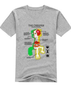 На картинке футболка Майнкрафт «Крипер» (Minecraft), вид спереди, цвет серый.