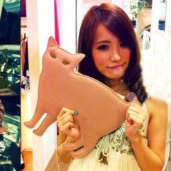 На картинке сумка-клатч кошка (6 вариантов), вид спереди, цвет розовый.