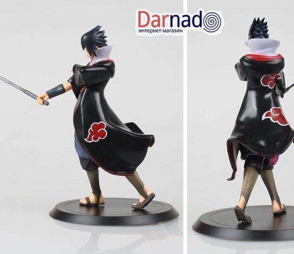 На картинке фигурка Саске (Наруто) Naruto, вид сбоку и сзади.