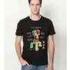 На картинке футболка Майнкрафт «Крипер» (Minecraft), вид спереди, цвет черный.