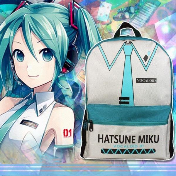 На картинке рюкзак Хатсуне Мику (Vocaloid), вид спереди.