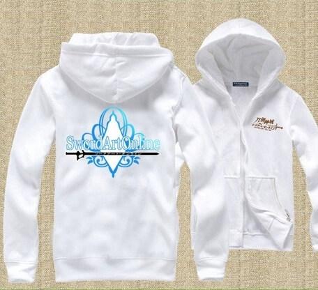 На картинке толстовка Sword Art Online (4 варианта), вид спереди и сзади, вариант Белая.