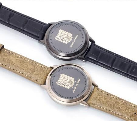 На картинке наручные часы Атака титанов, общий вид, 2 варианта.