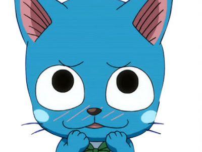 На картинке митенки Хеппи (Фейри тейл \ Хвост феи), кадр из аниме.