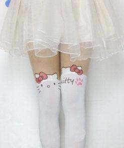 На картинке колготки с эффектом имитации чулок (чулков) Hello Kitty (3 варианта), вид спереди, вариант Белые.