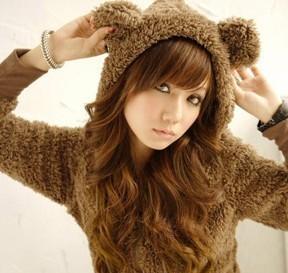 На картинке толстовка медведь с ушками (ушами) на капюшоне (3 варианта), общий вид, цвет шоколадный.