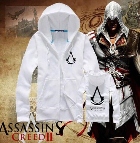 На картинке толстовка Асасин крид (Assassins creed) с принтом (6 цветов), вид спереди и сзади, цвет белый.