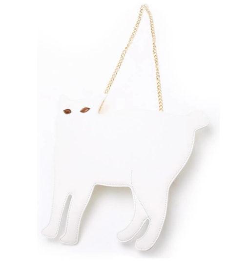 На картинке сумка-клатч кошка (6 вариантов), вид спереди, цвет белый.