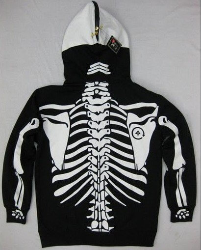 На картинке толстовка скелет (2 цвета), вид сзади, цвет черный.