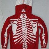 На картинке толстовка скелет (2 цвета), вид сзади, цвет красный.