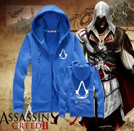 На картинке толстовка Асасин крид (Assassins creed) с принтом (6 цветов), вид спереди и сзади, цвет голубой.