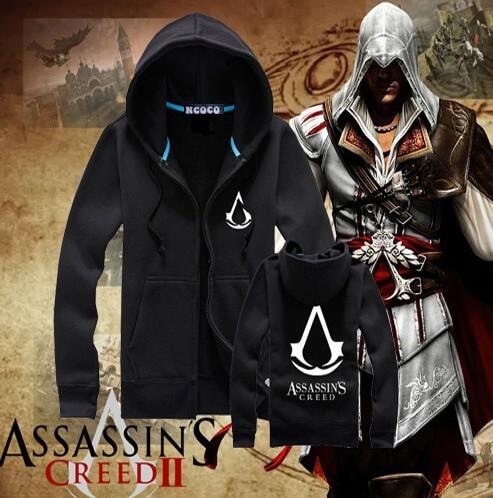 На картинке толстовка Асасин крид (Assassins creed) с принтом (6 цветов), вид спереди и сзади, цвет черный.