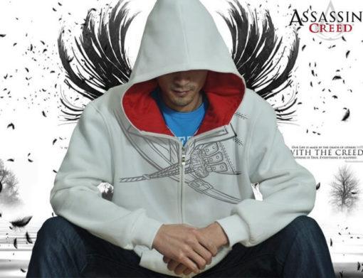 На картинке толстовка Асасин крид (Assassins creed), вид спереди, цвет белый.