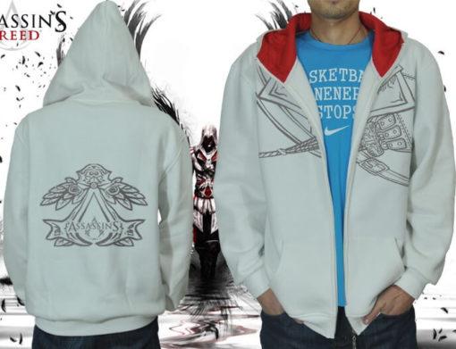 На картинке толстовка Асасин крид (Assassins creed), вид спереди и сзади, цвет белый.