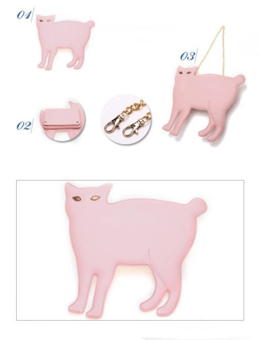 На картинке сумка-клатч кошка (6 вариантов), вид спереди и сзади, цвет розовый.