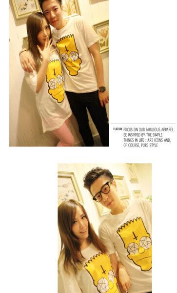 На картинке футболка с Бартом Симпсоном «Simpsons», общий вид, цвет белый.