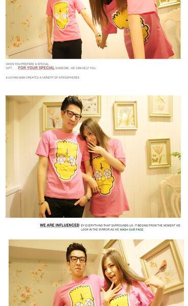 На картинке футболка с Бартом Симпсоном «Simpsons», общий вид, цвет розовый.