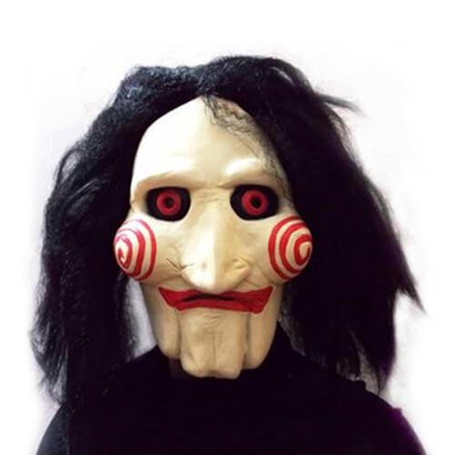 На картинке маска из фильма Пила, вид спереди, вариант Латекс.