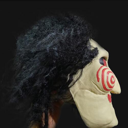 На картинке маска из фильма Пила, вид сбоку, вариант Латекс.