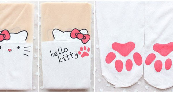 На картинке колготки с эффектом имитации чулок (чулков) Hello Kitty (3 варианта), в сложенном виде, вариант Белые.