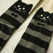 Полосатые колготки с кошками фото