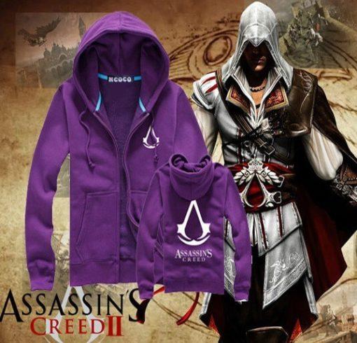 На картинке толстовка Асасин крид (Assassins creed) с принтом (6 цветов), вид спереди и сзади, цвет фиолетовый.