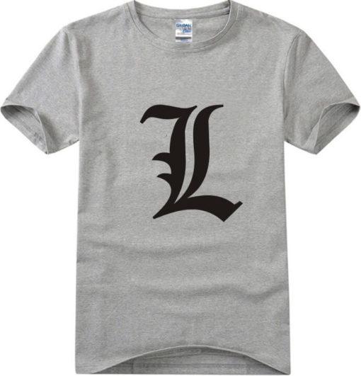 На картинке футболка Эл (Тетрадь смерти) 5 цветов, вид спереди. цвет серый.