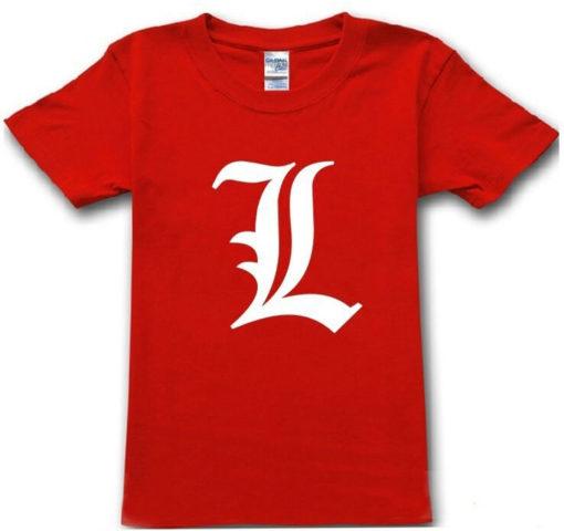 На картинке футболка Эл (Тетрадь смерти) 5 цветов, вид спереди. цвет красный.