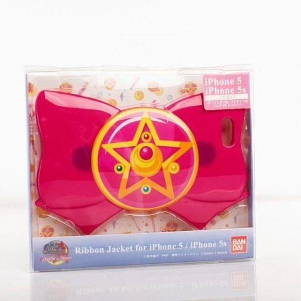 На картинке чехол на Айфон (для Iphone 4, 4S, 5, 5S) Сейлормун, вид спереди в упаковке, вариант Розовый.