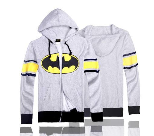 На картинке толстовка Бэтмен (2 варианта), вид спереди и сзади, цвет серый.