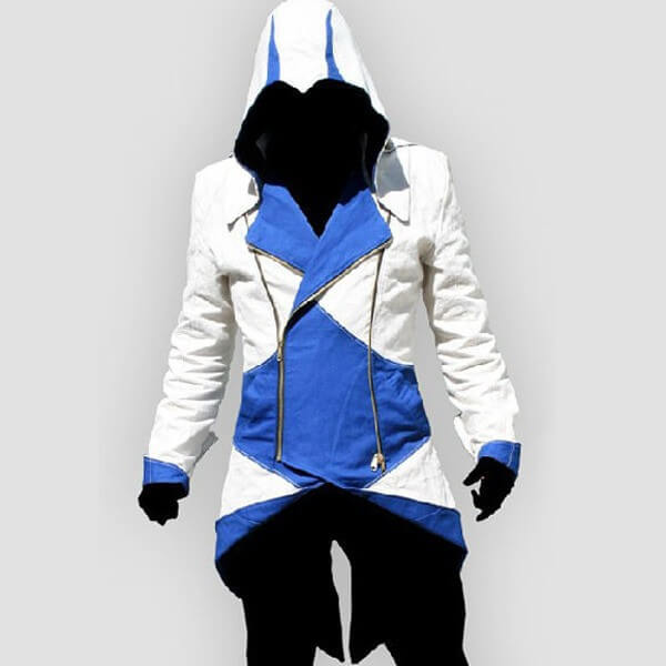 На картинке толстовка Ассасина exclusive (Ассасин крид), сине-белая, вид спереди.